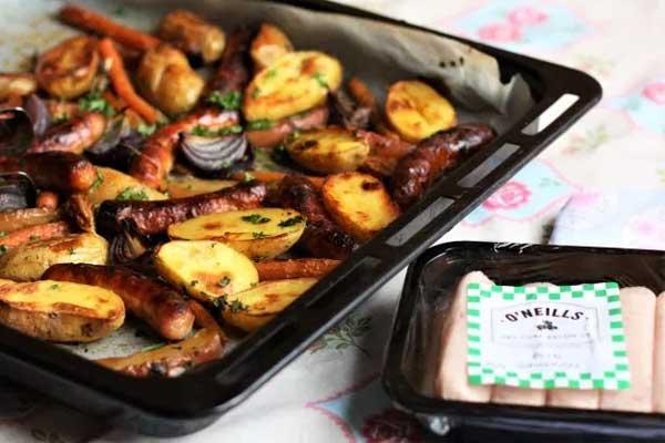 Sausage & Garlic Tray Bake